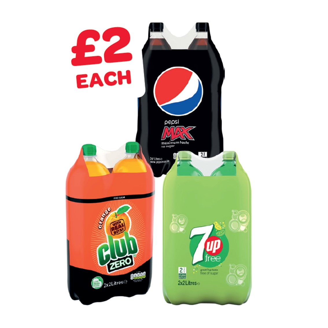 Pepsi Max / Club Zero / 7UP Free 2 Litre