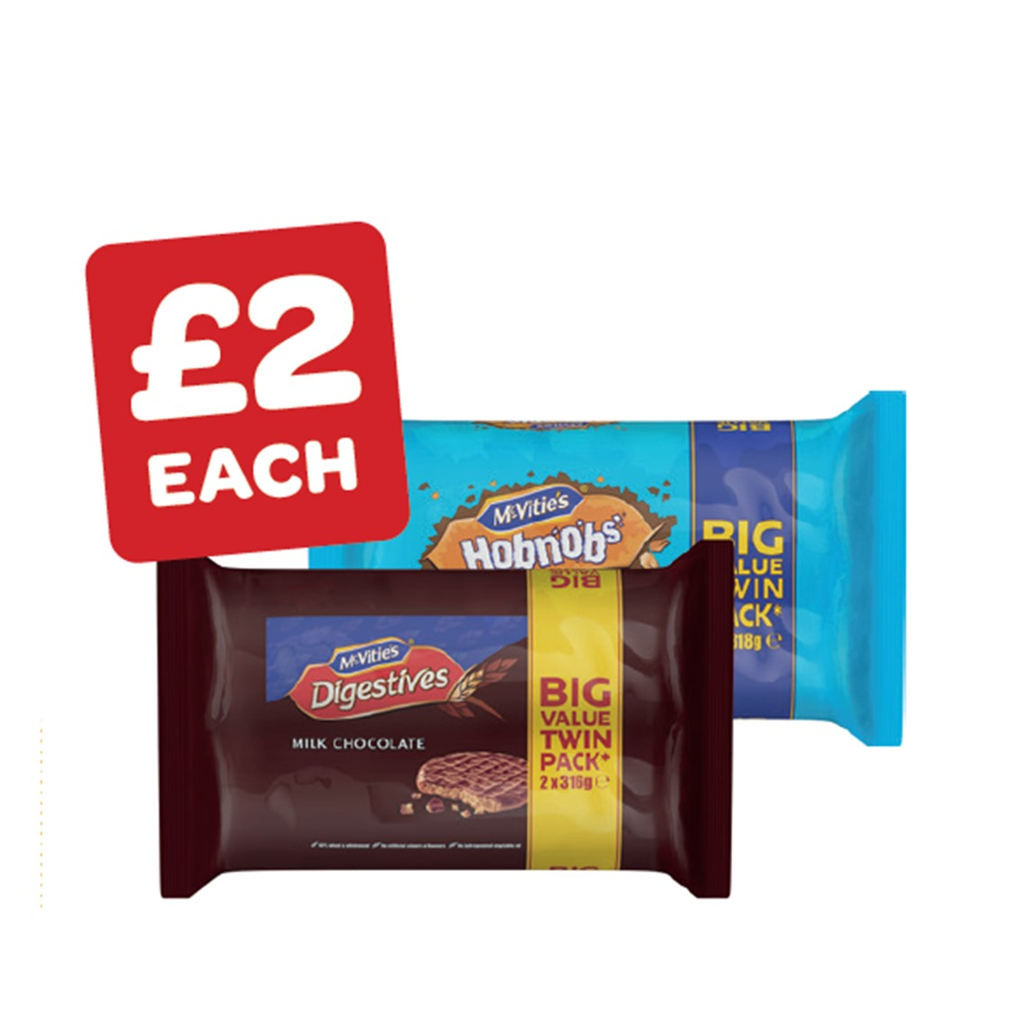 McVitie's Chocolate Digestives / Chocolate Hob Nobs Twin Pack