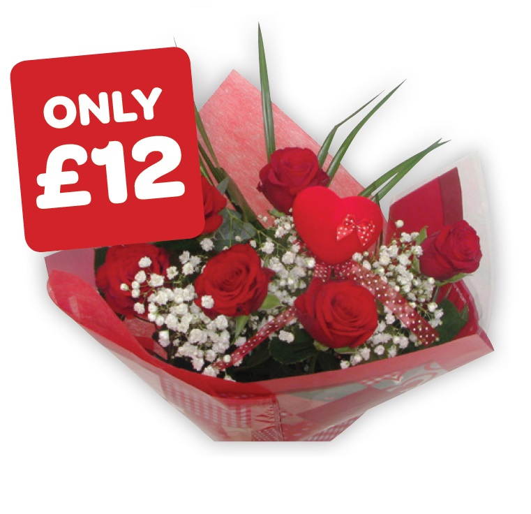Half Dozen Red Rose Bouquet