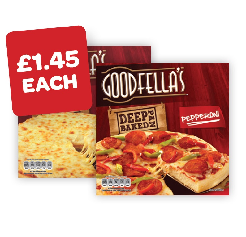 Goodfellas Deep Pepperoni / Cheese / Bacon & Mushroom / Cajun Chicken/ Deep Meat Feast