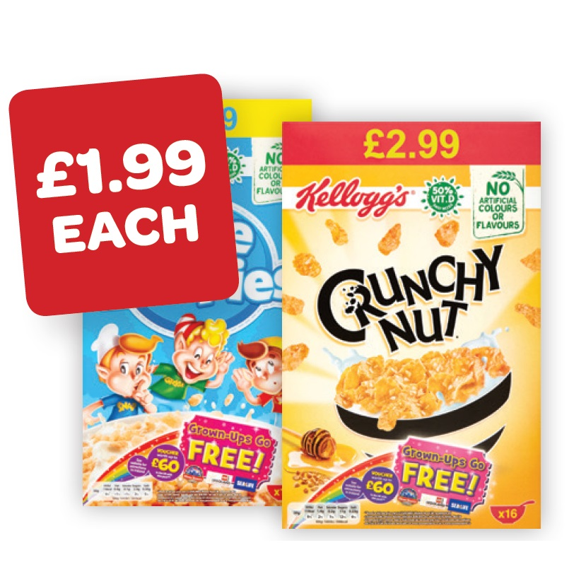 Kellogg's Crunchy Nut Corn Flakes Price Marked Pack