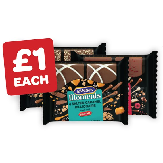 McVities Moments Raspberry & White Chocolate Crunch / Salted Caramel Billionaire / Honeycomb Crunch