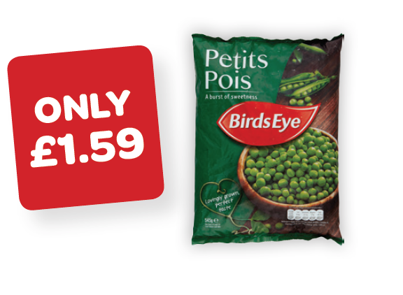 Birds Eye Petits Pois Price Marked Pack