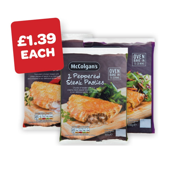 McColgans Peppered Steak / Chicken Curry / Chicken & Bacon Pasties