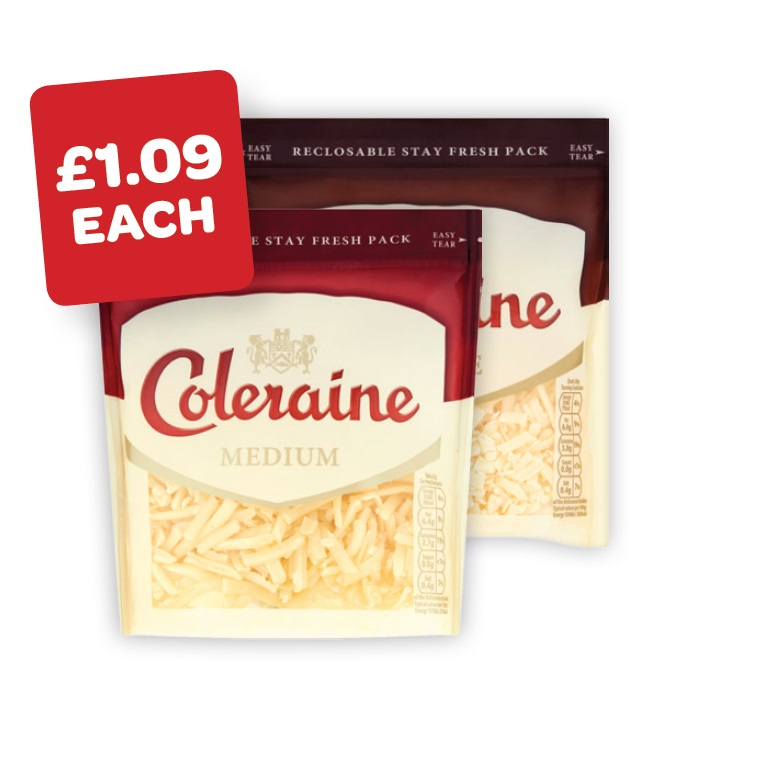 Coleraine Medium / Mature Grated Cheese