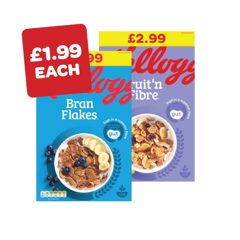 Kellogg's Bran Flakes / Fruit n Fibre Price Marked Pack