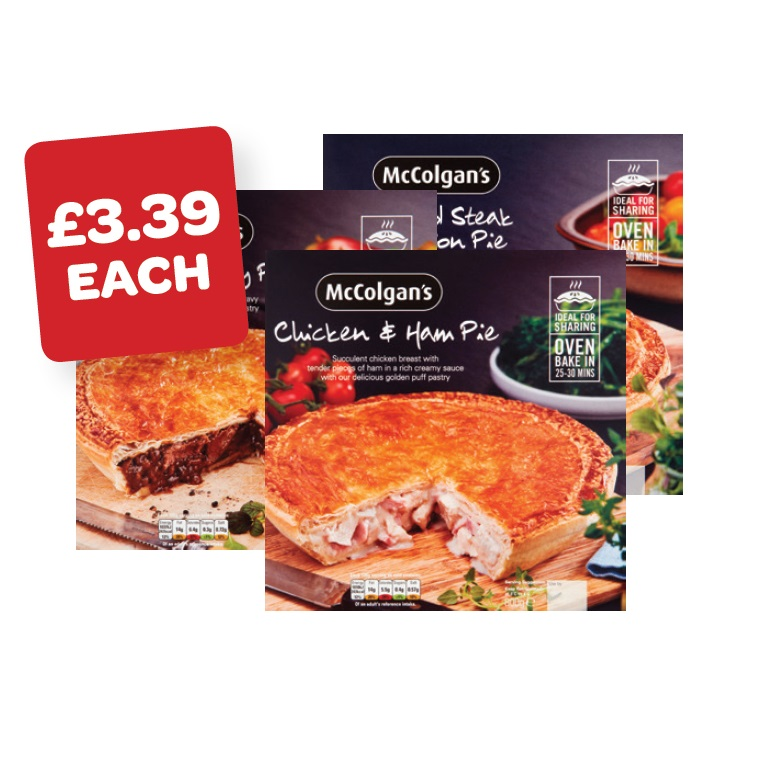 McColgans Chicken & Ham / Mince & Onion / Steak & Gravy Pie