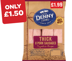 Denny Pork Sausages 8's