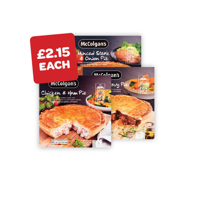 McColgans Mince & Onion / Steak & Gravy / Chicken & Ham Pie
