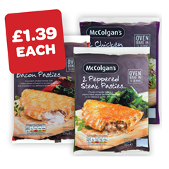 McColgans Peppered Steak / Chicken Curry / Chicken & Bacon Pasties 2 Pack