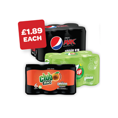 Pepsi Max / 7UP Free / Club Zero 330ml