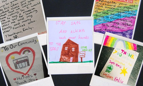 The handwritten notes, cards and letters from children keeping front line workers going