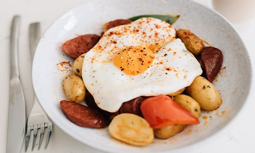 Chorizo Hash with Fried Egg