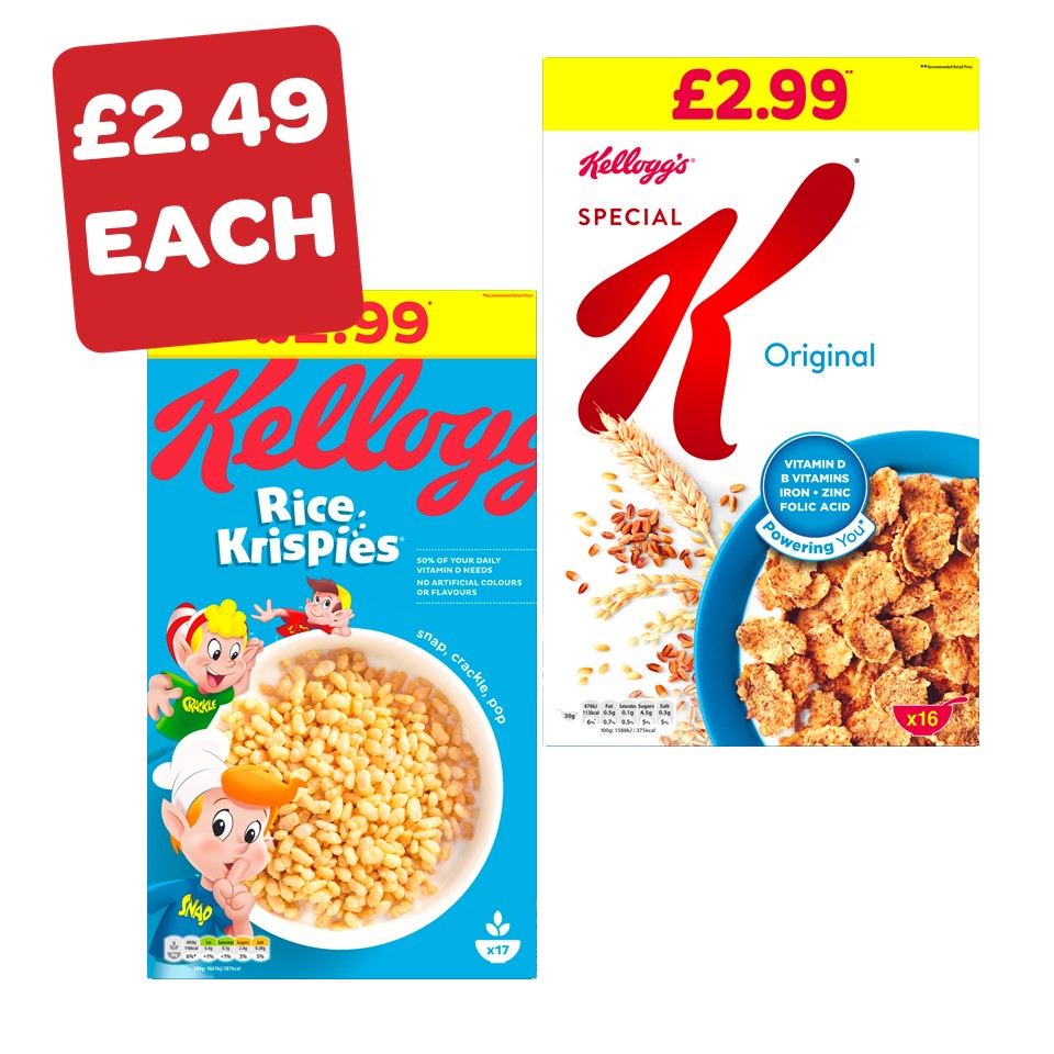 Kellogg's Special K / Fruit n Fibre / Rice Krispies Price Marked Pack