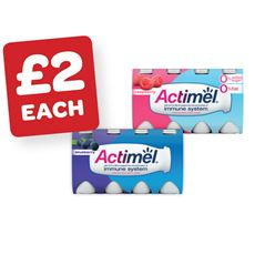 Actimel Strawberry / Original / Multi Fruit / Vanilla / Blueberry / Strawberry 0% / Raspberry 0% 100g