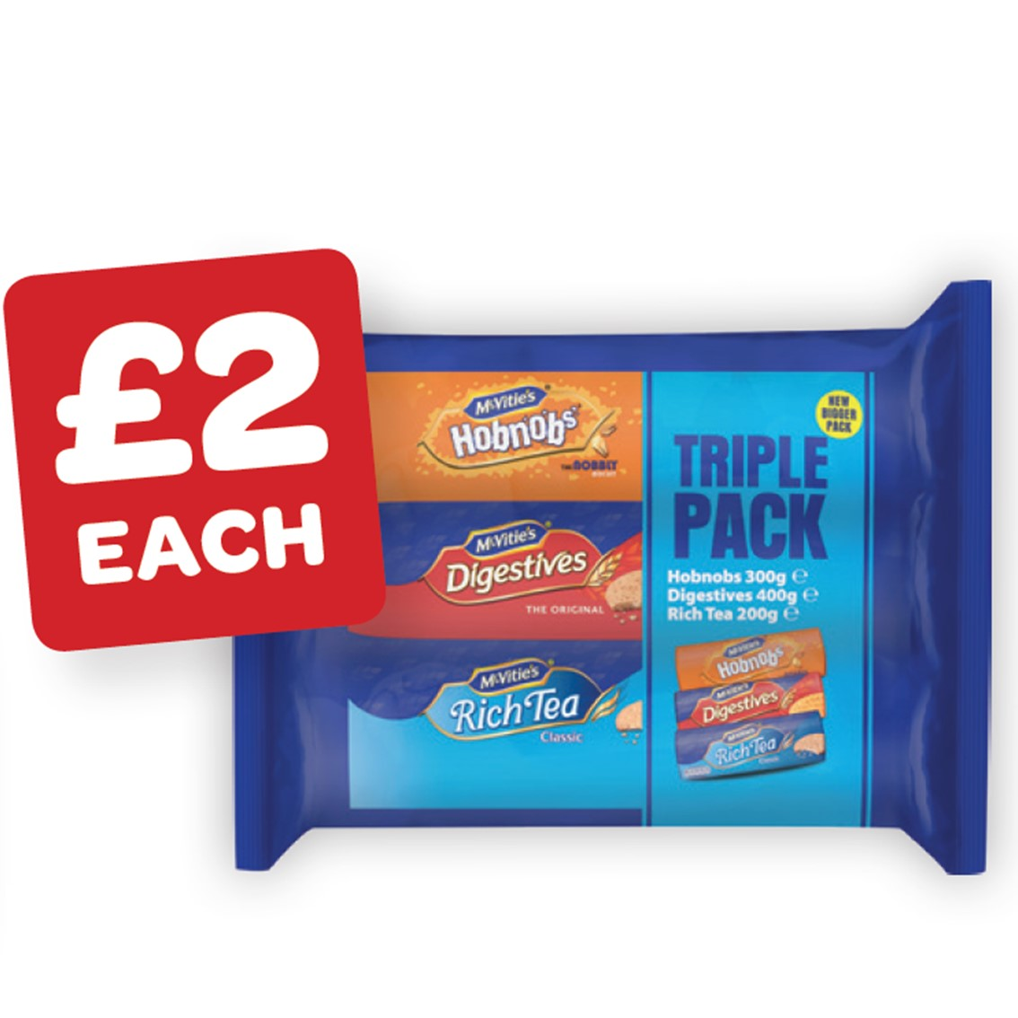 McVitie's Rich Tea / Digestives / Hob Nobs 3 Pack